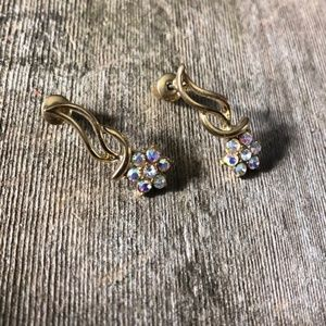 ❤️Silver Plated Crystal Floral Drop Earrings (NWT)